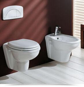 Coppia sanitari bidet e wc sospesi moderni in ceramica nuovo modello |5