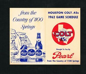 1962 Houston Colt .45s Pearl Beer Baseball Pocket Schedule 1st Year for Colts