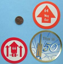 TITAN ROCKET STICKER LOT of 3 vtg '70s Mission Stickers USAF U.S. AIR FORCE 1