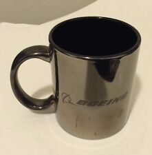 Rare Boeing 787  Black & Silver Coffee Mug Cup Commercial Airplanes Aviation