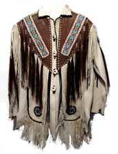 Men Beige Color Finished cow Leather Jacket Beads & long Fringe Work on Jacket
