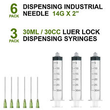 6pcs Dispensing 14G 2-inch Long Needle + 3pcs 30ml Syringe Blunt Tip Luer Lock