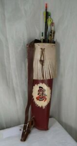 Vintage 1960's Leather Quiver with Arrows