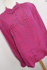 Carlisle Vintage Women's Blouse 100% Silk Pink Blue Button Up Shoulder Pads HC