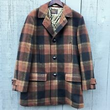 Vintage Pendleton Men Plaid Wool Classic Coat Jacket Leather Button Quilted RARE