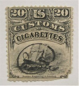 1870's Sailing Ship Early US Customs 20 Cigarettes Revenue stamp