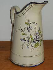 ANTIQUE FRENCH ENAMELLED PITCHER - Authentic enamel graniteware - VIOLETS