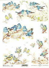 Rice Paper for Decoupage Scrapbooking, Blue Birds on a Flower Branch ITD R654