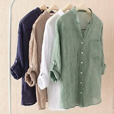 Women Stand Collar Sheer Loose Linen Shirt Blouse Casual Roll Up Sleeve V Neck