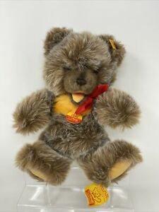 """Steiff Zotty Teddy Bear 12"""" Plush Jointed New With Tags Button"""