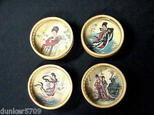 New listing 4 Different Vintage Bamboo Coasters Japanese Oriental Design With Glass Insert