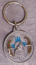 Pewter Key Ring animal bird Wolf and Eagles NEW