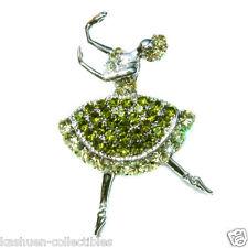 NEW w Swarovski Crystal BALLET Dancer ~BALLERINA~ Princess Pin Brooch Xmas Green