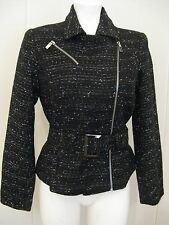 LUCIANO DANTE High Society 3 Women's Black Tweed Belted Jacket NWT Sz Small