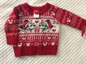 Infant Girls' 0-3 Month Minnie Mouse Christmas Sweater by Disney-NEW WITH TAGS!