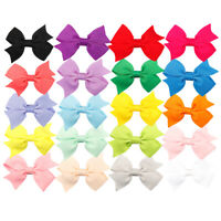 """20pcs/lot 4"""" Girls Solid Ribbons Grosgrain Hairbows with Clip Handmade Barrettes"""