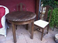 runderTisch, Eiche,90 cm, Garten, Esszimmer, Shabby Chic, 2 alte Eichenstühle
