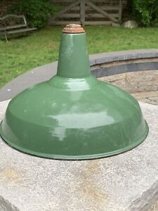 """Vintage Green Porcelain Enamel 16"""" Gas Station / Barn Light Shade Only"""