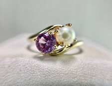 Vintage 10k Yellow Gold Round White Cultured Pearl Pink Topaz By-Pass Ring