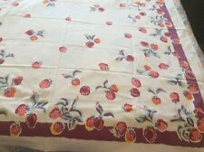 New listing Vintage 50's Cutter Tablecloth - Strawberries- Great For Pillows Etc.