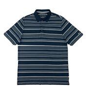 Nike Golf Tour Performance Polo Shirt Men's XL Blue Stripe Short Sleeve Button