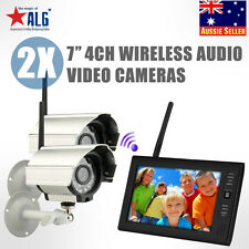 "7"" TFT.4G 4CH DVR Wireless Home Security System CCTV  Monitor + 2 IR Cameras"
