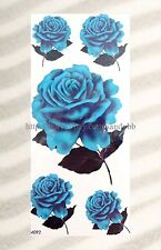 US SELLER-cool fake tattoos blue rose flower temporary tattoo