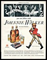 1936 JOHNNIE WALKER Red and Black Label Scotch Whiskey PRINT AD Bar Wall Art