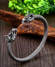 Bracelet Viking Tête de Loup Acier Inoxydable haute qualité
