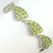 RARE! FASCINATING NATURAL TOP RICH GREEN PERIDOT-WHITE TOPAZ 925 SILVER BRACELET