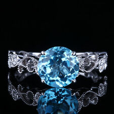 Solid 14K White Gold 7MM Round Genuine Swiss Blue Topaz Engagement Gemstone Ring