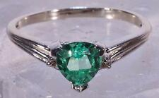 White Gold 10 K Trillion Cut Erinite Ring Man-Made With Diamond Accents Size 7