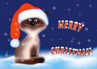 SÜSSE WEIHNACHTS-KATZE: lustiges Weihnachtskarten-Set 5, 10,15,20,30 oder 50 St.