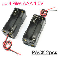 Lot x2 Boitier Bloc Support Coupleur 4 Piles AAA 4.8V / 6V Accus Batteries Carré