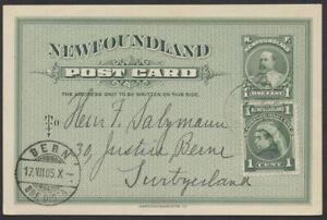 1905 #P8 Newfoundland 1c Edward PSC, Uprated, St John's to Bern Switzerland