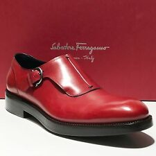 NIB FERRAGAMO PATTON Red Leather Monk Strap Men's Dress Oxford 10 D 43 Casual
