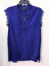 WORTHINGTON SLEEVELESS BLOUSE VIOLET BLUE EYELASH LACE V-NECK MSRP $36 Sz S NWT