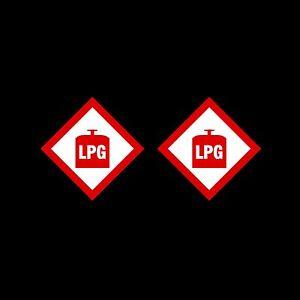 LPG Warning Sign, Sticker - 100x100mm - *Pack of 2* - Caravan, Camping