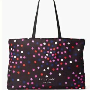 NEW Kate Spade Festive Dot Cotton Shipping Tote Black Multi