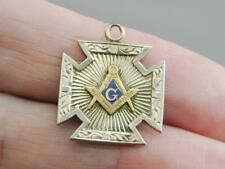 Antique 14k 2 Tone Blue Enamel Masonic Watch FOB