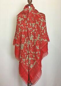 Gucci Red Shawl Scarf Arabesque GG Monogram Silk Modal 100% Authentic