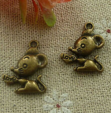 free ship 180 pieces Antique bronze mouse charms 20x17mm #2119