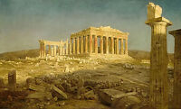 Oil painting frederic edwin church - ancient great building the parthenon canvas
