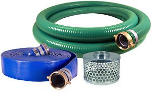 "Eagle Hose PVC Aluminum Water Trash Pump Hose Kit  2"" Green Suction Hose Coupled"