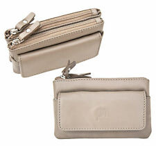 Prime Hide Luxury Large Taupe Leather Double Zip Top Coin Purse with Key Chain