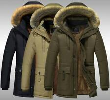 Mens Winter Jacket Fur Lining Fleece Coat Fur Hoodie Design Warm Smart Parka