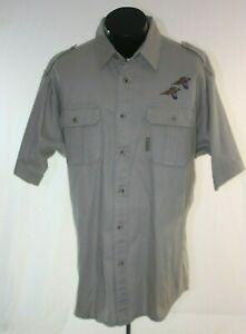 Columbia Shirt Fishing Outdoor Hiking Men Large Gray Embroidered Pheasant