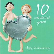 10th tarjeta de aniversario de bodas de la colección de una o dos a tanto alzado Tin ANNIVERSAR