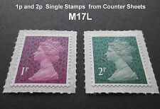 NEW JUNE 2017 M17L 1p and 2p Machin SINGLE STAMPS from Counter Sheets