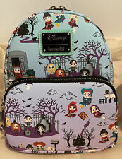LOUNGEFLY X Disney Hocus Pocus Binx Scene AOP All Over Print Mini Backpack NWT
